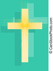 Christian cross trio with starburst on blue background.