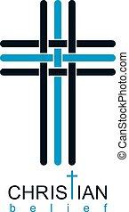 Christian Cross true belief in God vector symbol, Christianity religion icon.