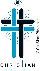 Christian Cross true belief vector religion symbol,...