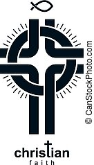 Christian Cross vector symbol, Christianity God religion...