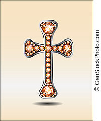 Stunning Christian Cross symbol with amber or topaz semi-precious stones embedded into a silver channel setting.