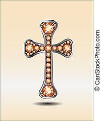 Christian Cross with Amber - Stunning Christian Cross symbol...