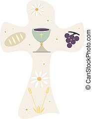 Christian cross with chalice grapes bread and wheat ear....