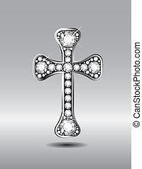 Christian Cross with Diamonds - Stunning Christian Cross...