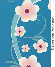 Christian cross with flowers and dove on a blue background