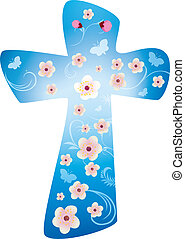Christian cross with flowers on blue background