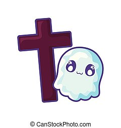 christian cross with ghost on white background