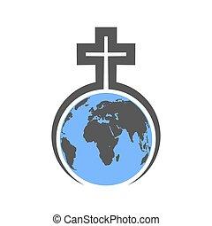 Christian Cross with Globe Earth illustration