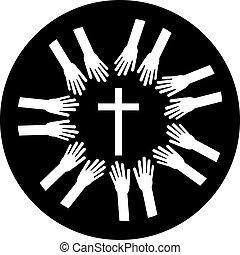 Christian cross with hands. Faith and religion. Vector illustration