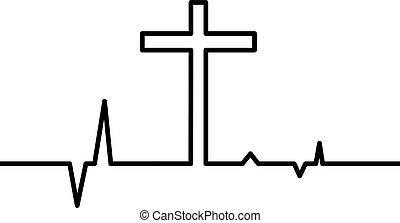 Christian cross with heart beat