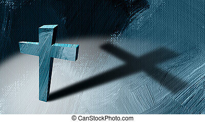 Christian cross with long cast shadow abstract graphic background