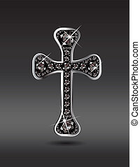 Christian Cross with Onyx - Stunning Christian Cross symbol...