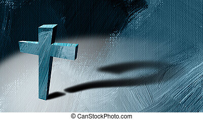 Christian cross with question mark cast shadow graphic background
