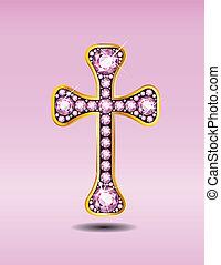 Christian Cross with Rose Quartz