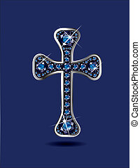 Christian Cross with Sapphires