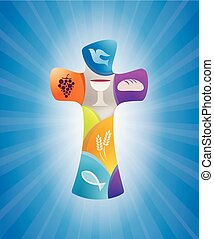 vector stylized christian cross in color with christian symbols: dove grape, chalice, bread wheat ears fish on blue background with light rays
