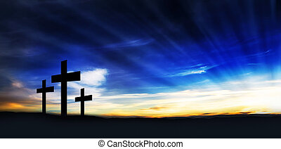 Christian Crosses on the Hill