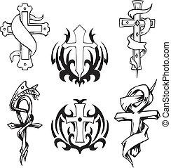 Christian crosses. Set of black and white vector illustrations.