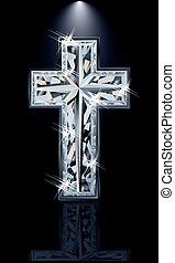 Christian diamonds Cross, vector