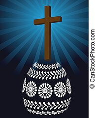 christian easter card with cross and easter egg