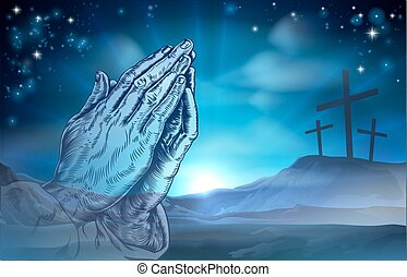 Christian Easter Praying Hands and Crosses - A Christian...