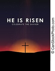 Christian easter scene, Saviour cross on dramatic sunrise scene, with text He is risen, vector illustration