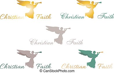 Christian faith angel logo, sign