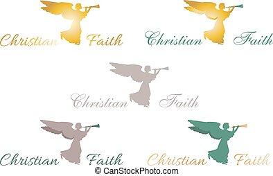 Christian faith angel logo, sign