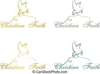Christian faith pigeon logo, sign