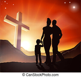 Christian Family Concept - A Christian family walking...