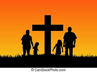 Illustration of a silhouette family standing by a cross