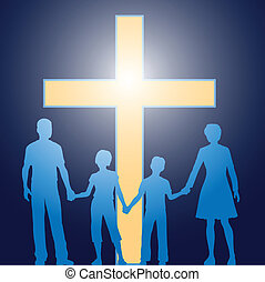 Christian family standing before luminous cross