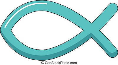 Christian fish symbol icon, cartoon style