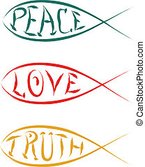 christian fish with peace love truth vector