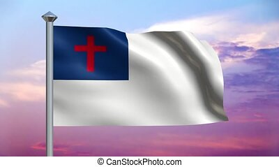 Christian Flag and Colorful Sky Loo - A Christian flag waves...