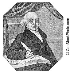 Christian Friedrich Samuel Hahnemann (1755-1843) was a German physician, known for creating an alternative form of medicine called homeopathy. Illustration originally published in a magazine printed in 1880. The image is currently in public domain due to the old age.