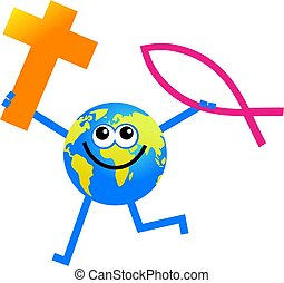 Christian globe - cartoon globe man holding Christian faith...