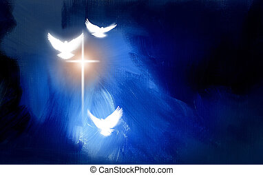 Conceptual graphic illustration of glowing Christian cross with three white doves, symbolizing Jesus Christ's sacrificial work of salvation. Artwork composed against abstract blue oil painted background with texture.