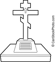 Christian grave icon, outline style
