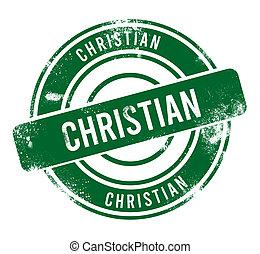 Christian - green round grunge button, stamp