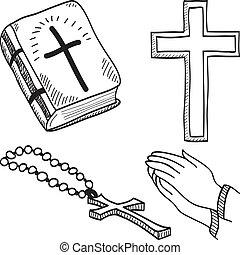 Christian hand-drawn symbols illustration - cross, bible,...
