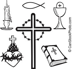 Christian hand-drawn symbols illustration - candle, cross, ...