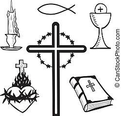 Christian hand-drawn symbols illustration - candle, cross,...