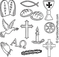 Christian hand-drawn symbols illustration - cross, hands, fish, chalice, bread, dove, candle, crown of thorns