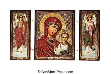 Christian icon isolated on white background