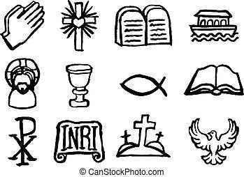 Christian Icon Set - Christian icon symbols set painted with...