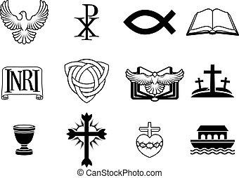Christian icon set - A set of Christian icons and symbols,...