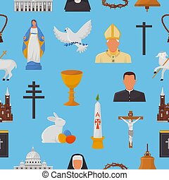 Christian icons vector christianity religion signs and religious symbols church faith christ bible cross hands praying to God biblical illustration background pattern