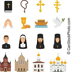 Christian icons vector christianity religion signs and religious symbols church faith christ bible cross hands praying to God illustration isolated on white background