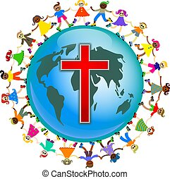 Cute illustration of a group of happy and diverse children holding hands around the world with a red cross symbol designed onto it. Christian concept image.